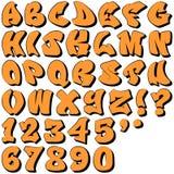Grafittibokstäver och nummer Arkivfoton