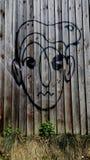 Grafittiframsida på staketet royaltyfri bild