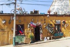 Grafittikonst av den ValparaÃso staden i Chile Fotografering för Bildbyråer