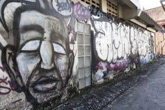 Grafittikonst i Bangkok thailändsk huvudstad fotografering för bildbyråer