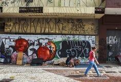 Grafittikonst i Sao Paulo, Brasilien royaltyfri bild