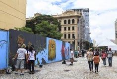 Grafittikonst i Sao Paulo, Brasilien royaltyfria foton