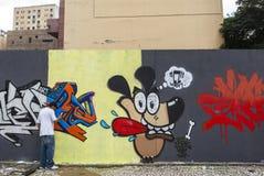 Grafittikonst i Sao Paulo, Brasilien royaltyfri fotografi