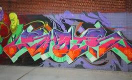 Grafittikonst på östliga Williamsburg i Brooklyn Arkivbilder