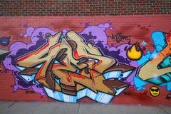 Grafittikonst på östliga Williamsburg i Brooklyn Royaltyfria Foton