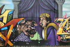 Grafittikonst på den storstads- avenyn i Brooklyn Arkivbild