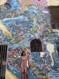 Grafittikonst, vägg i San Juan, Puerto Rico Arkivbild