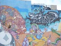 Grafittikonst, vägg i San Juan, Puerto Rico Fotografering för Bildbyråer
