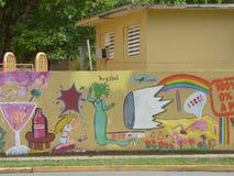 Grafittikonst, vägg i San Juan, Puerto Rico Royaltyfria Bilder