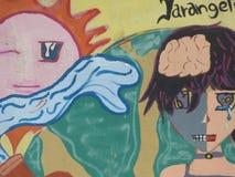 Grafittikonst, vägg i San Juan, Puerto Rico Arkivfoton