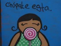 Grafittikonst, vägg i San Juan, Puerto Rico Arkivbilder