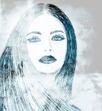 Grafittikvinna på väggen stock illustrationer