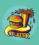 Grafittis ajustados do hamburguer Fotos de Stock