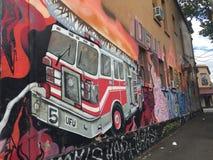 Grafittis - carro de bombeiros/viatura de incêndio Imagem de Stock