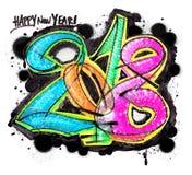 2018 grafittis coloridos Imagens de Stock Royalty Free