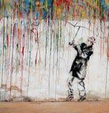 Grafittis coloridos do homem Imagem de Stock Royalty Free