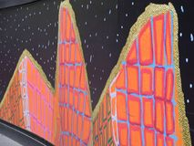 Grafittis coloridos na açambarcamento do canteiro de obras, Sydney, Austrália Fotografia de Stock