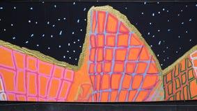 Grafittis coloridos na açambarcamento do canteiro de obras, Sydney, Austrália Imagem de Stock