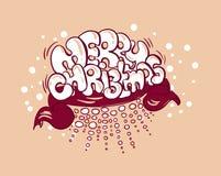 Grafittis da bolha do estilo da garatuja do cartão do Feliz Natal ilustração royalty free