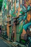 Grafittis da parede ao longo da pista do haji Fotos de Stock