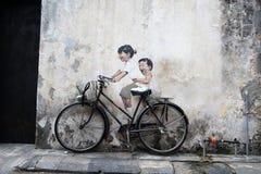Grafittis da parede de Penang Fotos de Stock Royalty Free