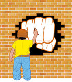 Grafittis da pintura do menino Fotos de Stock
