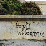 Grafittis da praia Imagem de Stock