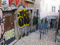 Grafittis da rua - Lisboa Fotografia de Stock