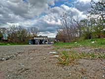 Grafittis de Detroit - realidade do perigo adiante Fotos de Stock Royalty Free