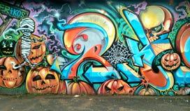Grafittis de Dia das Bruxas Fotografia de Stock Royalty Free