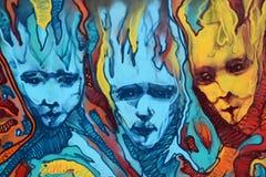 Grafittis distorcidos das chamas das caras Foto de Stock