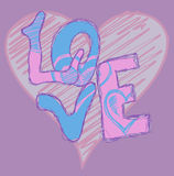 Grafittis do coração do amor Imagens de Stock Royalty Free