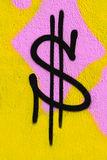 Grafittis do dólar Foto de Stock