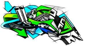 Grafittis do desenho no estilo da motocicleta ilustrado ilustração royalty free