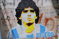 Grafittis do maradona de Diego Fotografia de Stock
