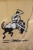 Grafittis do rodeio, cavalo de equitação do homem Parede velha, Argentina Imagens de Stock Royalty Free