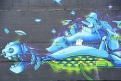 Grafittis do roedor do espaço em SE Portland, Oregon fotografia de stock royalty free