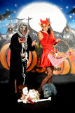 Grafittis dos pares de Halloween Imagens de Stock