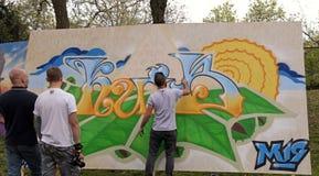 Grafittis dos pintores da rua, Kiev, Ucrânia Fotos de Stock Royalty Free