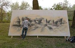 Grafittis dos pintores da rua, Kiev, Ucrânia Imagem de Stock