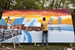 Grafittis dos pintores da rua, Kiev, Ucrânia Foto de Stock Royalty Free