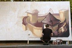 Grafittis dos pintores da rua, Kiev, Ucrânia Fotografia de Stock Royalty Free