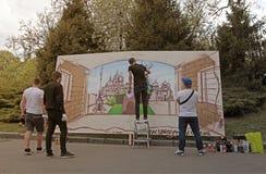 Grafittis dos pintores da rua, Kiev, Ucrânia Imagens de Stock Royalty Free