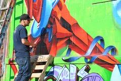 Grafittis em cinco Pointz Fotos de Stock Royalty Free