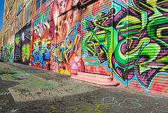 Grafittis em cinco Pointz Fotografia de Stock Royalty Free