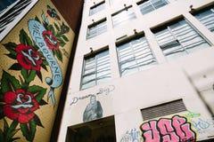Grafittis em paredes da construção em Melbourne Imagens de Stock Royalty Free