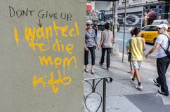 Grafittis em uma rua de New York Imagens de Stock