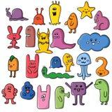 Grafittis engraçados dos monstro Arte tirada mão do esboço Ilustração do vetor do Doodle pode ser usado para fundos, t-shirt Imagens de Stock
