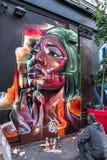Grafittis fêmeas coloridos brilhantes da cara Fotos de Stock