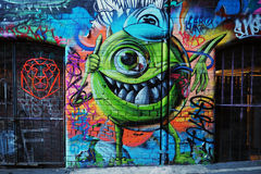 Grafittis - monstro Inc Mike Wazowski Fotos de Stock